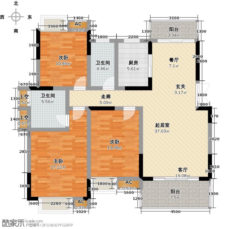 彰泰春天135.00㎡樱花园C18户型3室2厅2卫QQ