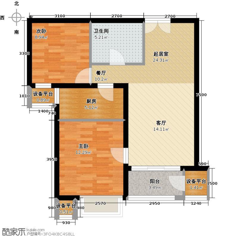 燕京航城86.00㎡24号楼E2反两室两厅一卫户型
