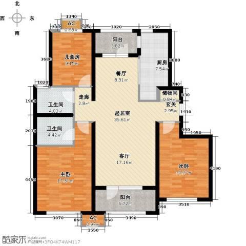 中海银海熙岸3室0厅2卫1厨118.00㎡户型图