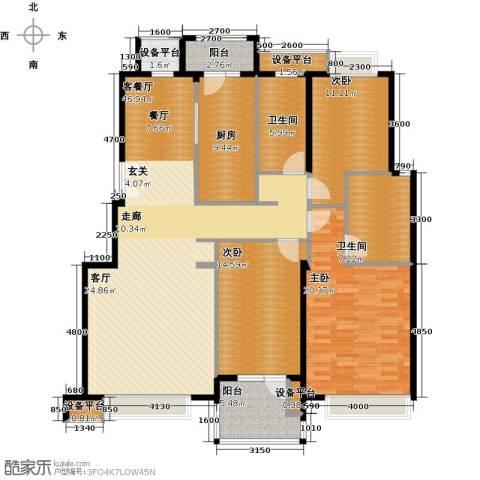意林小镇3室1厅2卫1厨142.48㎡户型图