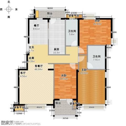 意林小镇3室1厅2卫1厨144.80㎡户型图