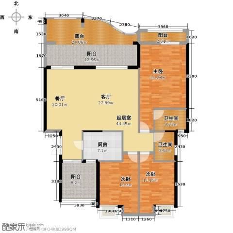 万山国际3室0厅2卫1厨140.09㎡户型图