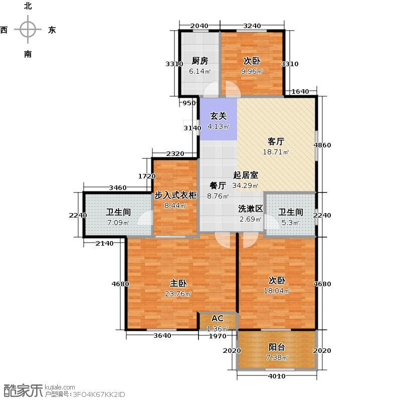 外海中央花园E17a型三室两厅两卫130.81平户型
