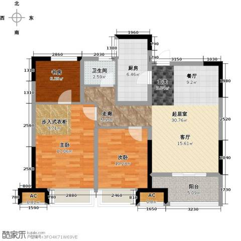 观湖壹号3室0厅1卫1厨92.00㎡户型图