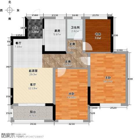 观湖壹号3室0厅1卫1厨90.00㎡户型图