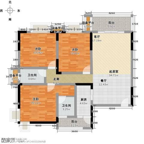 袭汇旺角名门3室0厅2卫1厨107.00㎡户型图