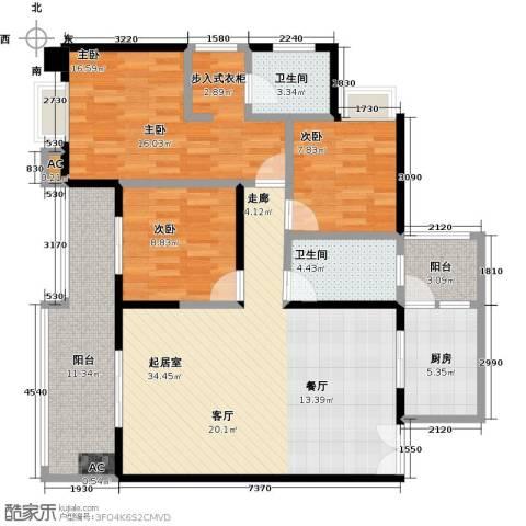 如意汇景3室0厅2卫1厨123.00㎡户型图
