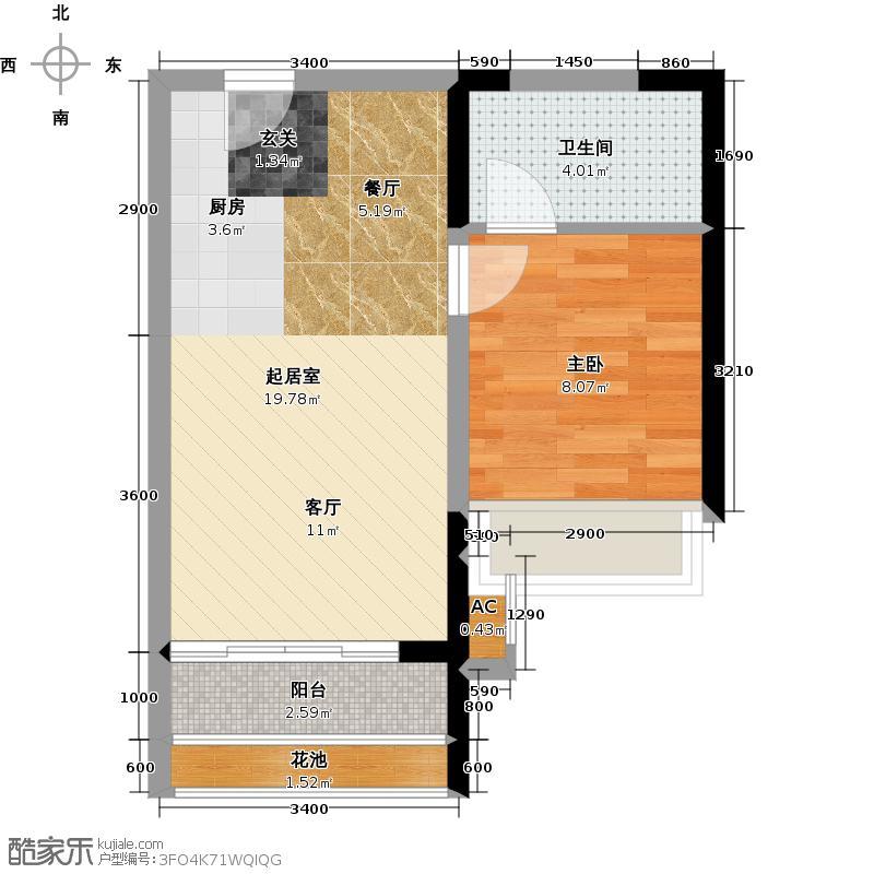 太东明月湾46.00㎡4栋B户型46平米一房两厅一卫QQ
