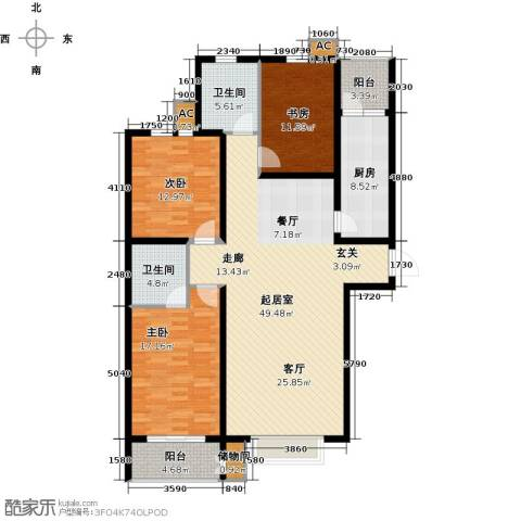 丽景华庭3室0厅2卫1厨136.00㎡户型图