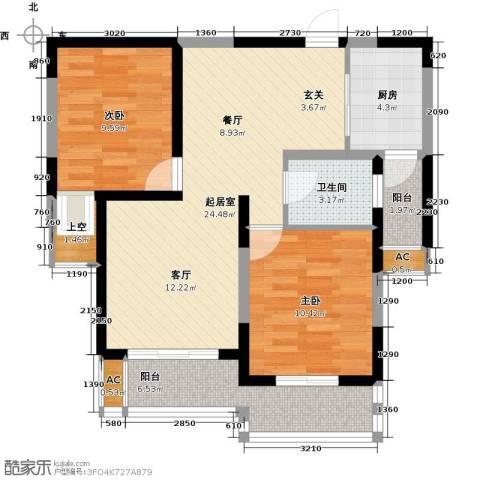香槟湾-长江绿岛5期2室0厅1卫1厨74.07㎡户型图
