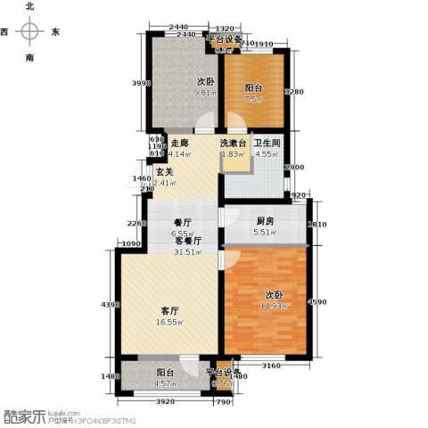 永定河孔雀城剑桥郡2室1厅1卫1厨92.00㎡户型图