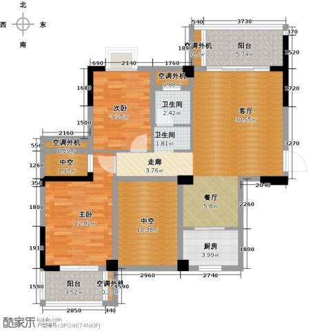 广隆海尚首府2室1厅1卫1厨122.00㎡户型图