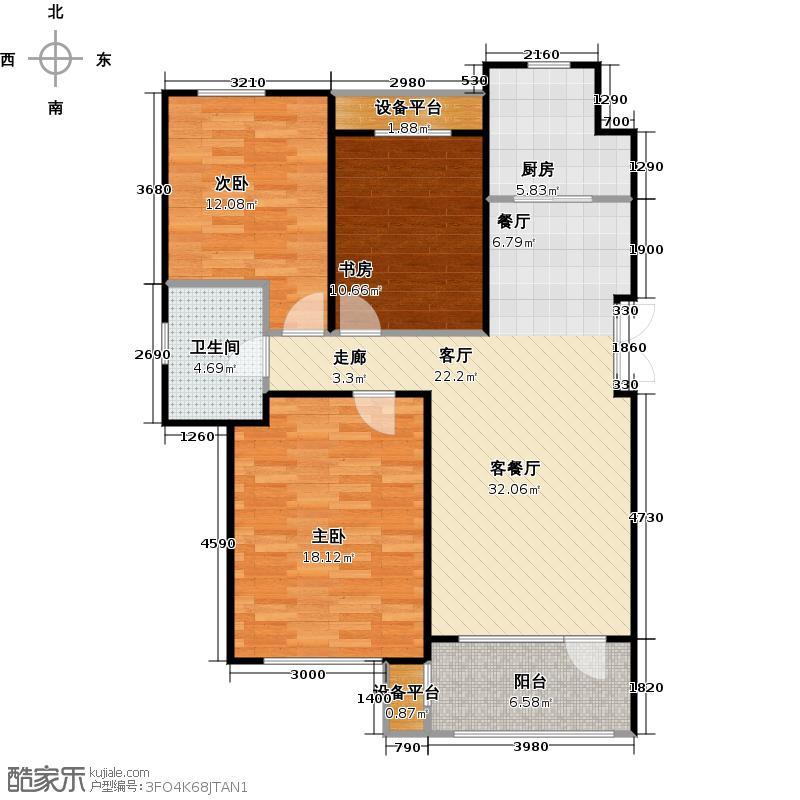 万达金石天成103.04㎡G户型三室二厅一卫户型3室2厅1卫