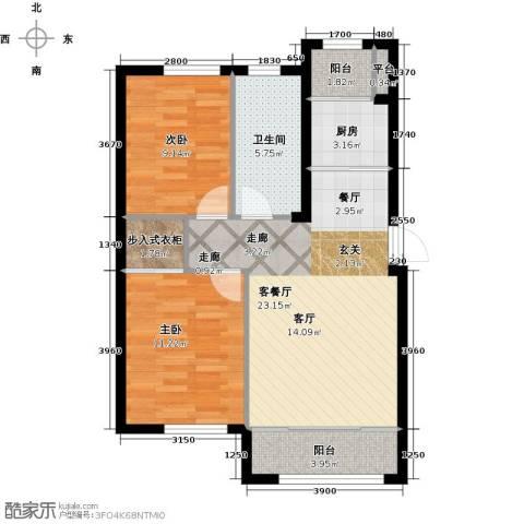 知润山2室1厅1卫1厨72.00㎡户型图