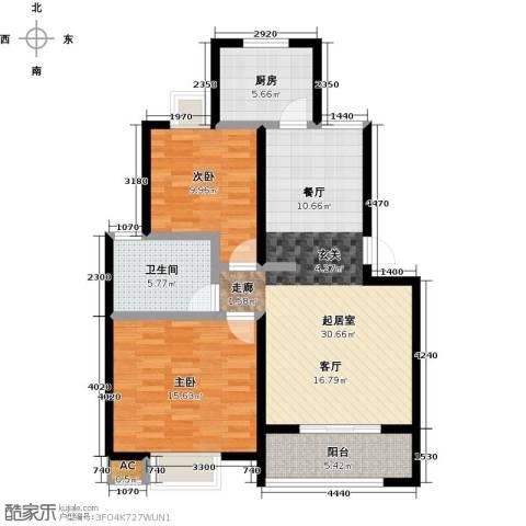 香槟湾-长江绿岛5期2室0厅1卫1厨85.00㎡户型图
