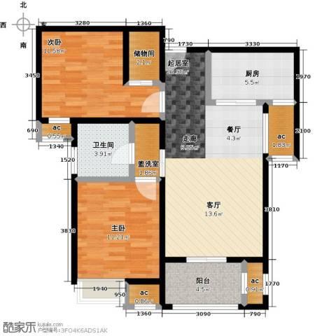 保利玫瑰湾2室0厅1卫1厨89.00㎡户型图