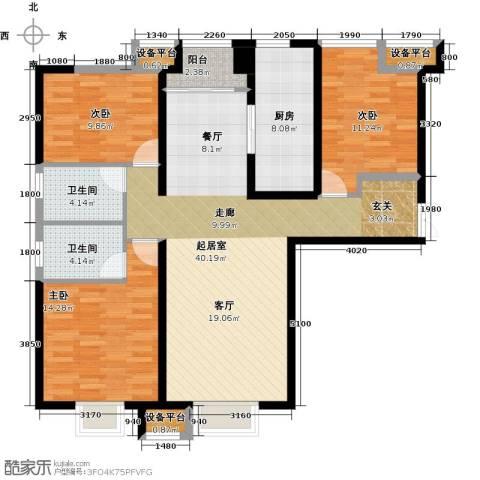 金融街和平中心3室0厅2卫1厨126.00㎡户型图
