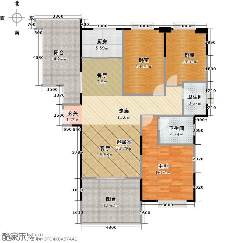 伟梦清水湾东方院131.00㎡C1户型7-9#户型3室2厅2卫