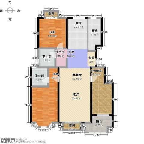 裕华铭珠2室1厅2卫1厨139.00㎡户型图