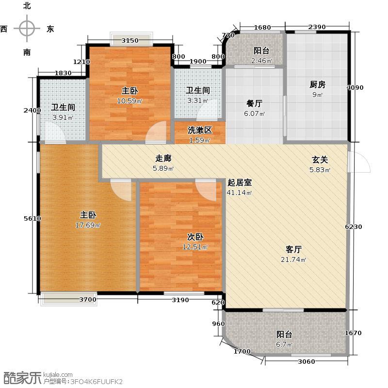 外海中央花园138.98㎡3室2厅2卫户型3室2厅2卫