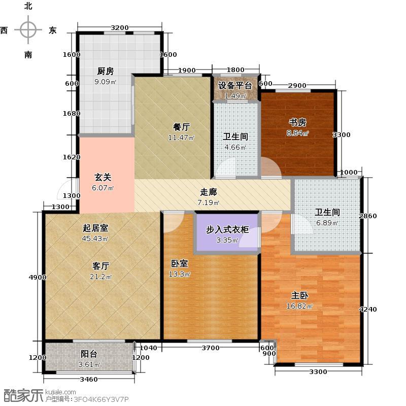 澜湾半岛135.65㎡澜湾半岛一期13-14号楼标准层B户型3室2厅2卫