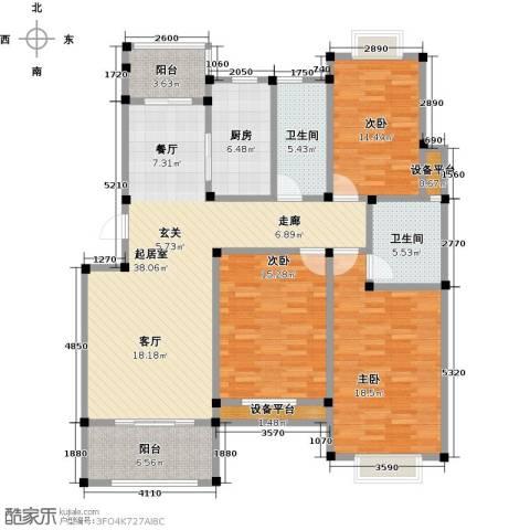 香槟湾-长江绿岛5期3室0厅2卫1厨128.38㎡户型图