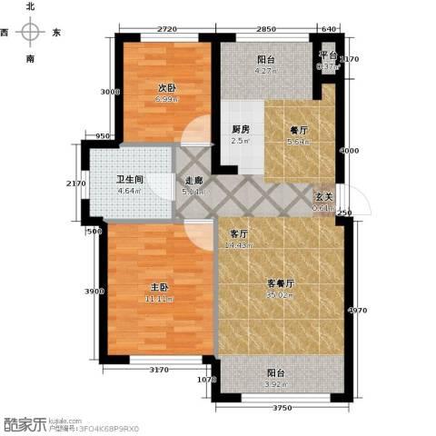 知润山2室1厅1卫0厨73.00㎡户型图