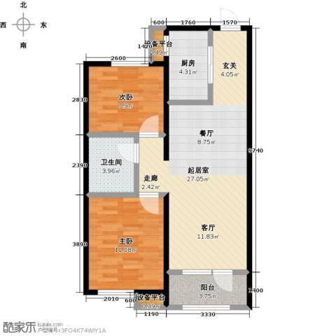 中海银海熙岸2室0厅1卫1厨84.00㎡户型图