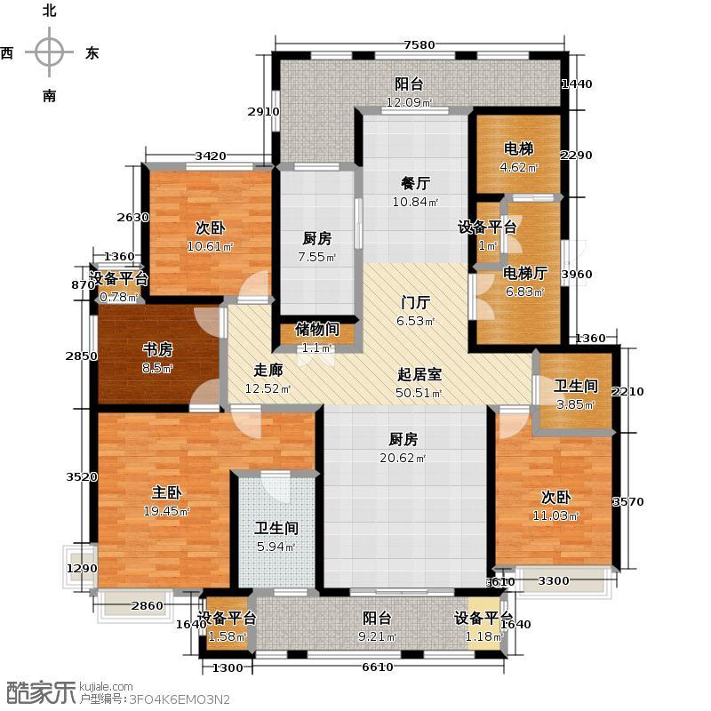鼎旺大观176.26㎡E户型4室2厅2卫户型4室2厅2卫