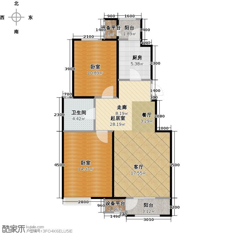 澜湾半岛91.93㎡澜湾半岛一期2-3-4-7号楼标准层F户型2室2厅1卫