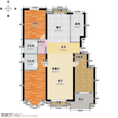裕华铭珠2室1厅2卫1厨153.00㎡户型图