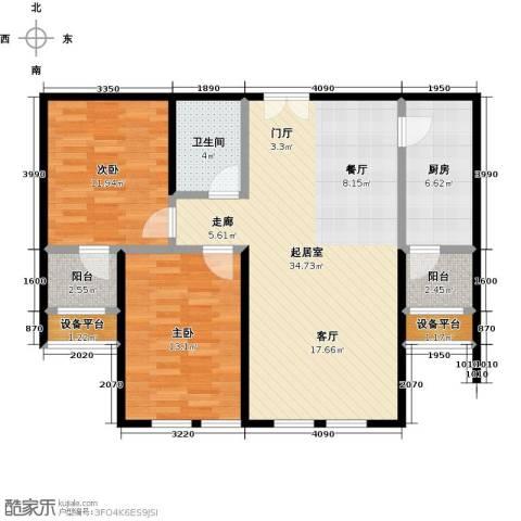 鼎旺大观2室0厅1卫1厨88.00㎡户型图