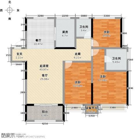 观湖壹号3室0厅2卫1厨120.00㎡户型图