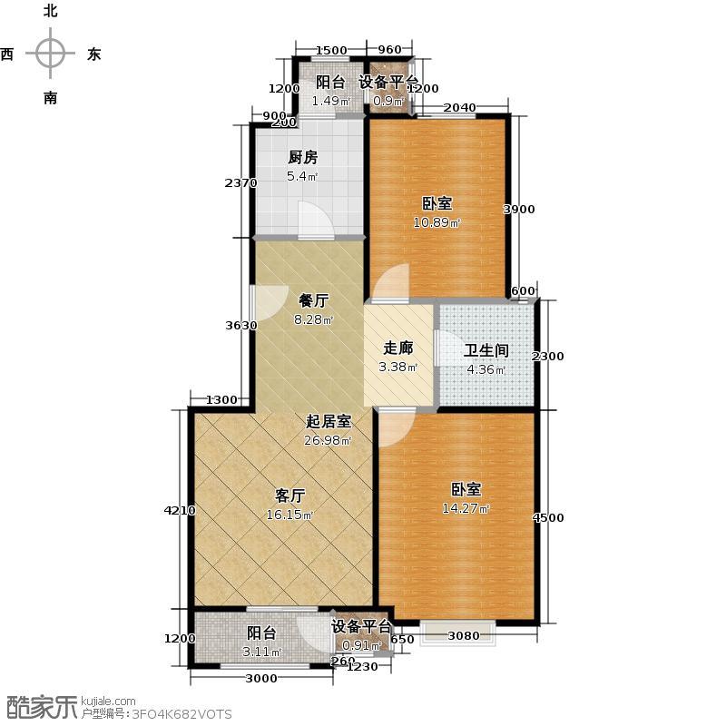 澜湾半岛91.81㎡澜湾半岛一期1-2-3-4-5-6-7号楼标准层E户型2室2厅1卫