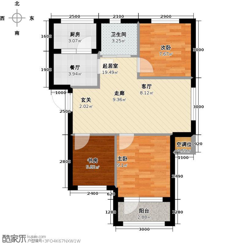 金领地85.15㎡85.15平米三室两厅一厨一卫户型图户型3室2厅1卫