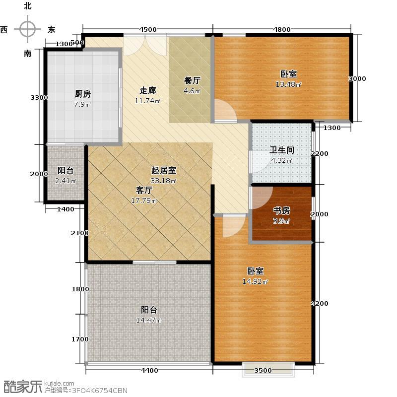伟梦清水湾东方院93.00㎡B2户型5-8#户型2室2厅1卫