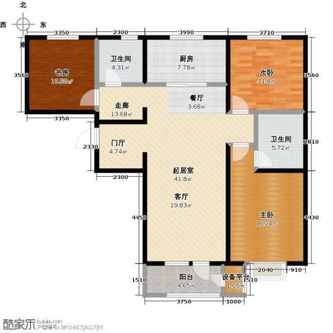 润达万科金域蓝湾3室0厅2卫1厨117.00㎡户型图