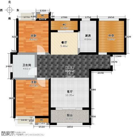 保利玫瑰湾2室0厅1卫1厨92.00㎡户型图