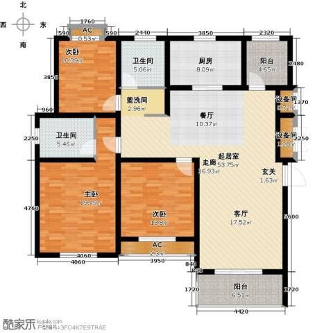 宝地名邸3室0厅2卫1厨144.00㎡户型图