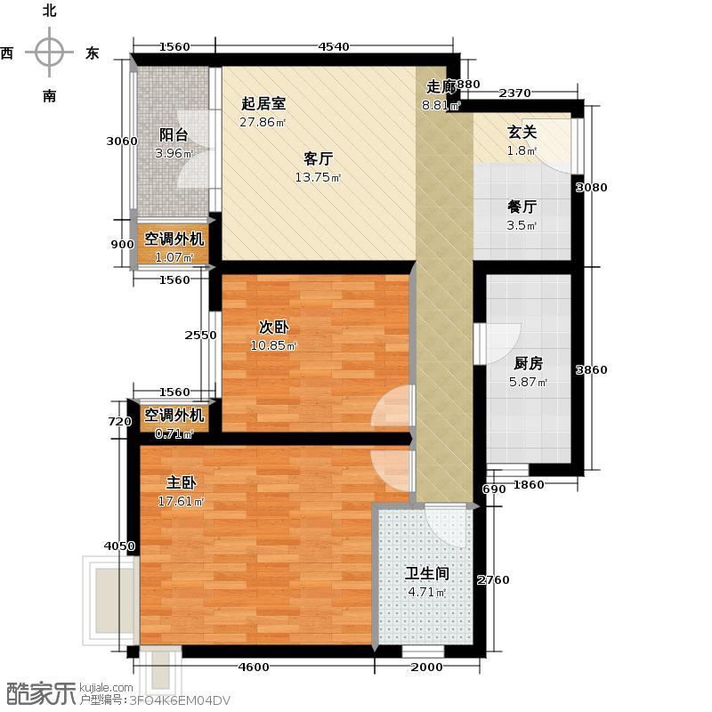 路劲主场83.00㎡4号楼户型2室2厅1卫户型2室2厅1卫