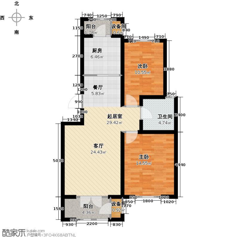 龙泽馨园94.00㎡A户型2室2厅1卫