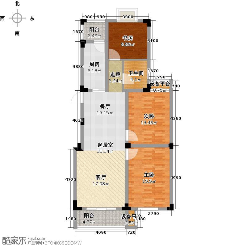 溪畔橡园105.93㎡J户型3室2厅1卫