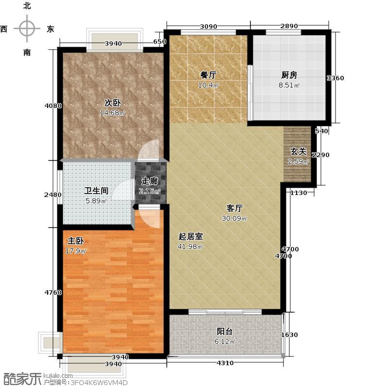 康悦亚洲花园A1A2户型2室1卫1厨
