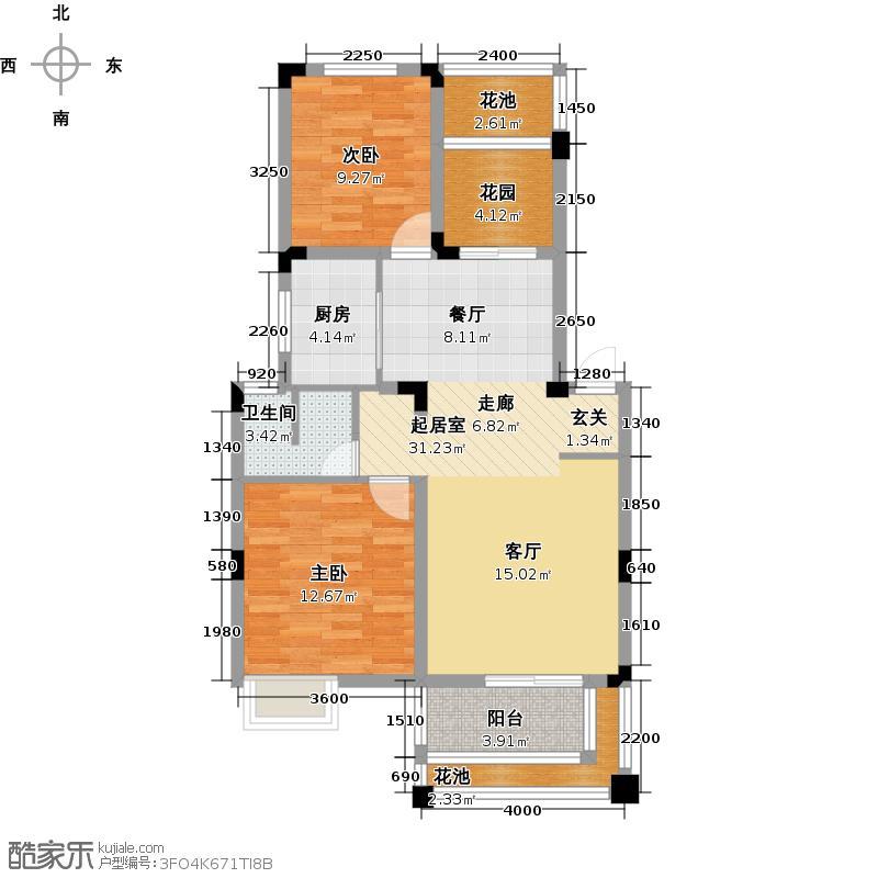 航天彩虹镇80.00㎡二期DD1户型 2室2厅1卫1厨户型
