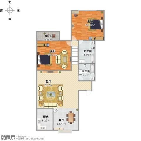 泉印兰亭2室1厅2卫1厨183.00㎡户型图