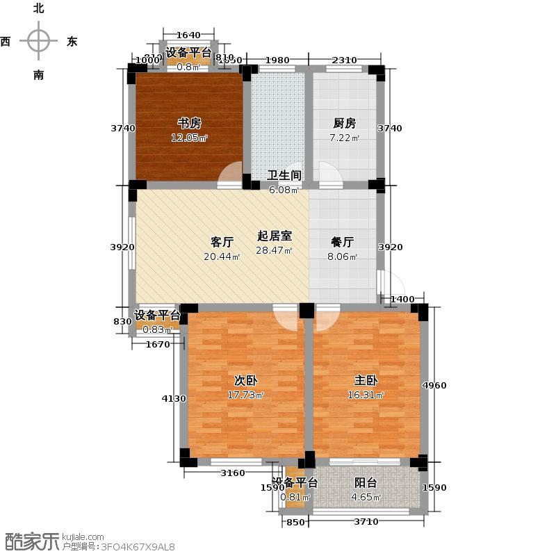 溪畔橡园108.00㎡B2户型3室2厅1卫