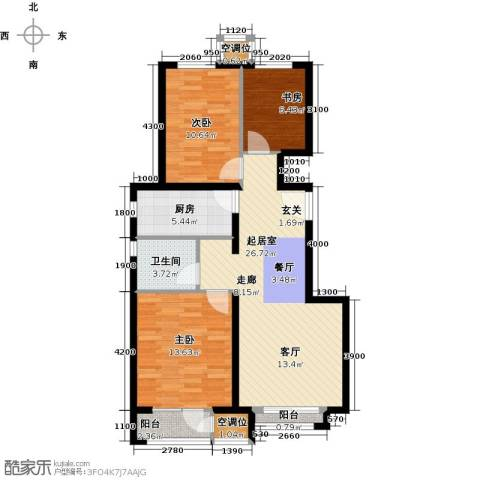 万科新里程3室0厅1卫1厨106.00㎡户型图