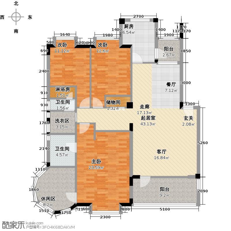 航天彩虹镇133.00㎡房型: 三房; 面积段: 133 -147 平方米;户型
