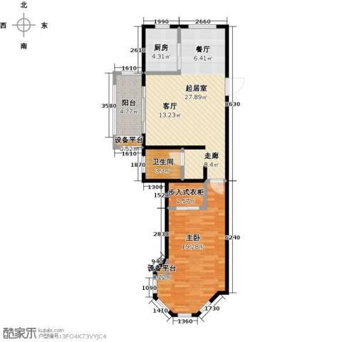 中南唐山湾1室0厅1卫1厨72.00㎡户型图
