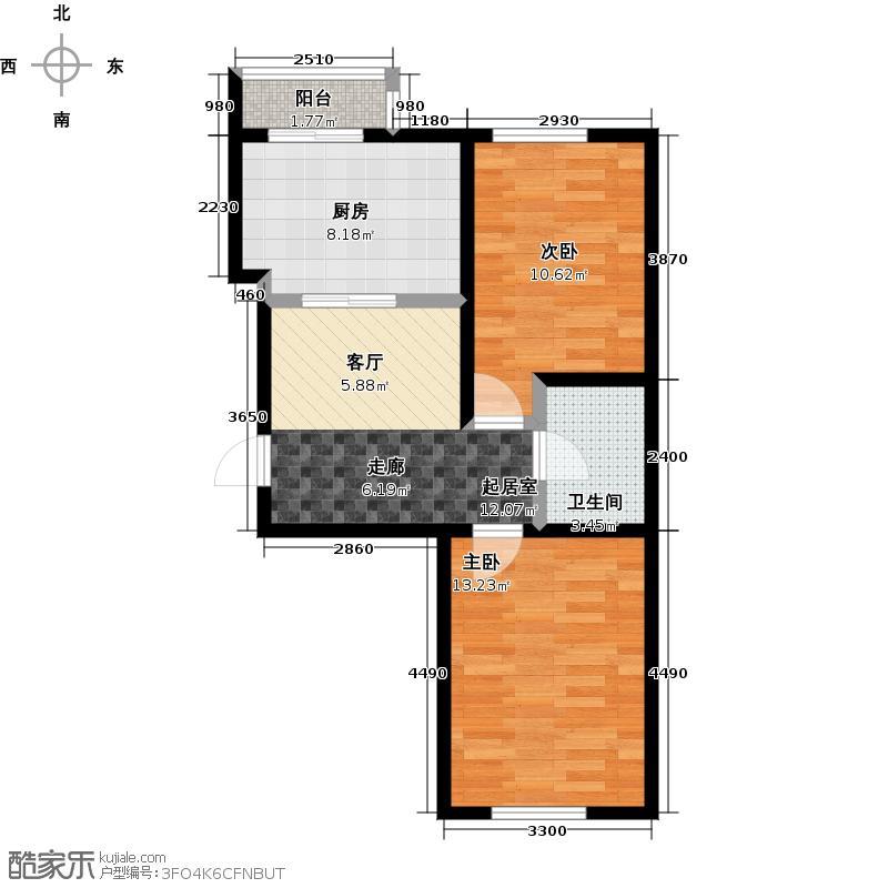 和泰馨城74.00㎡两室一厅一卫户型2室1厅1卫
